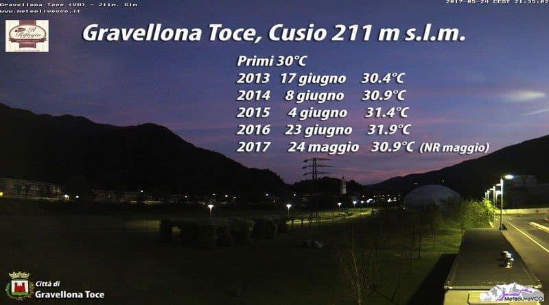 Caldo record, cadono altri paletti climatici. Oltre 30°C a maggio in Gravellona Toce.