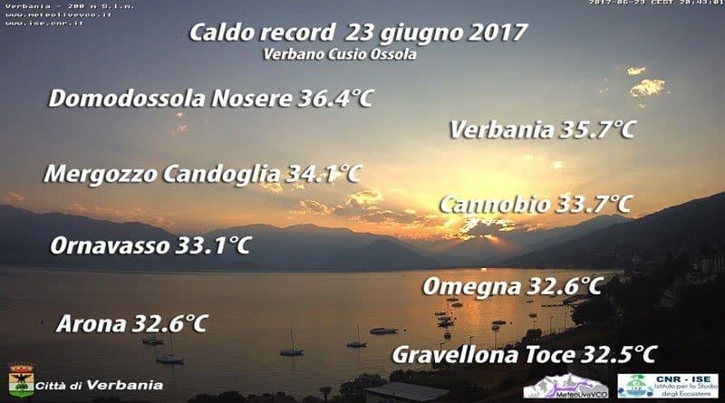 Caldo record 2017 a Domodossola e Verbania, da domani si scende, temporali a go go.