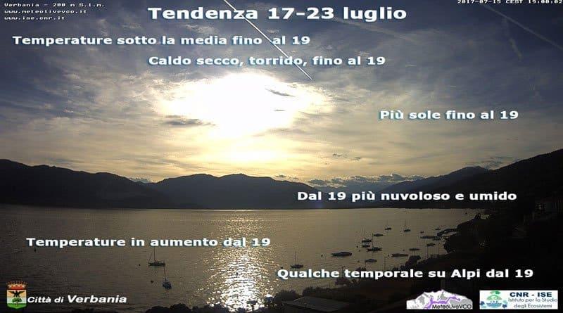 La tendenza del tempo dal 17 al 23 luglio con un occhio alla climatologia.